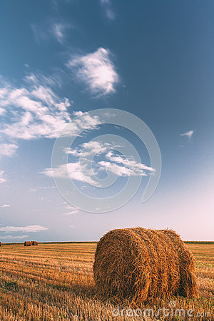 Free Rural Landscape Field Meadow With Hay Bales After Harvest In Sunny Evening At Sunset Stock Photo - 92850000