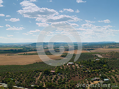 Rural landscape frome above of southern Spain