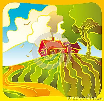Rural landscape with housesl