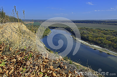 Rural landscape with a river Stock Photo