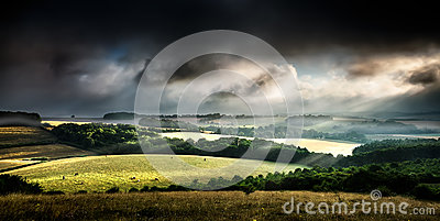 Rural landscape stormy daybreak
