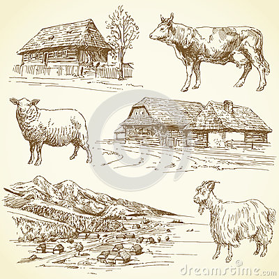 Free Rural Landscape, Village, Farm Animals Royalty Free Stock Photography - 29070357