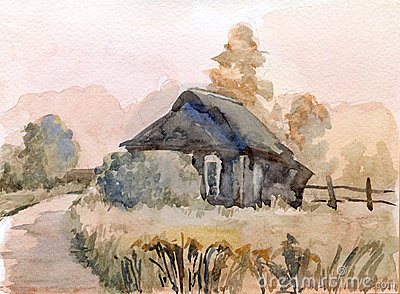 Rural landscape. Watercolor