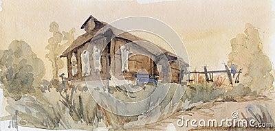 Rural landscape. Watercolor