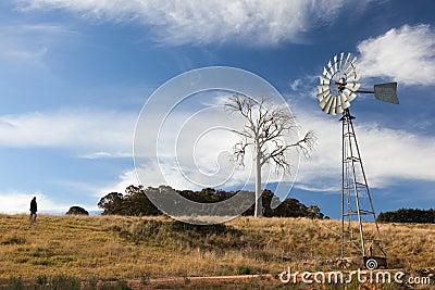 A rural landscape with windmill. Australia.