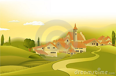 Rural landscape wiyh little town