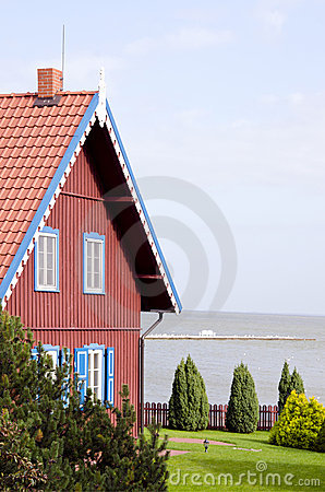 Rural living house near sea. Architectural details