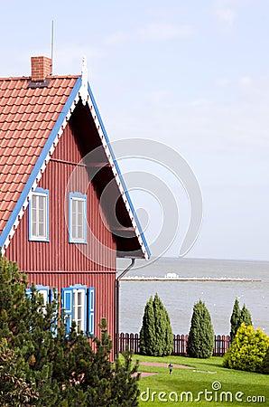 Rural living house near sea. Architectural details