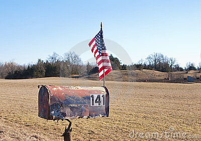 Rural mailbox with American flag