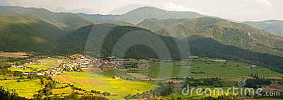 Rural panoramic view in Spanish Pyrenees