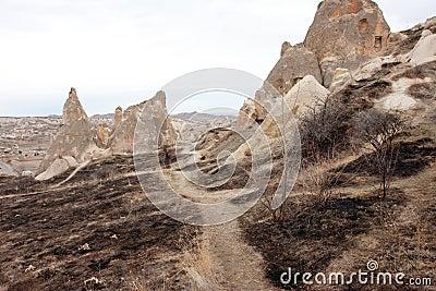 Rural road between the rocks