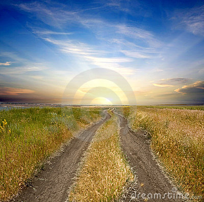 Free Rural Road To Sunset Stock Image - 14767361
