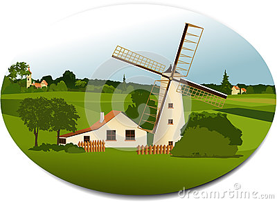 Rural scene with windmill