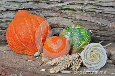 Rural setting with pumpkins