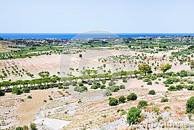 Rural view on Mediterranean coast in Sicily