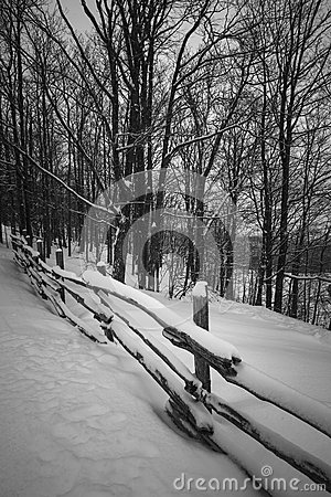 Free Rural Winter Scene With Fence Royalty Free Stock Images - 47414159