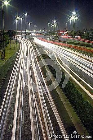 Rush hour lights at night