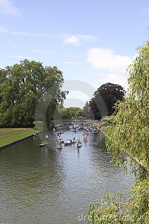Rush hour on the river Cam in Cambridge Editorial Photo