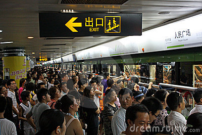 Rush hour in Shanghai Metro Editorial Stock Photo
