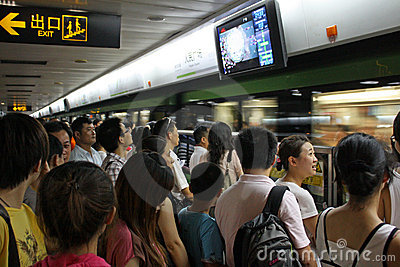 Rush hour in Shanghai Metro Editorial Photo