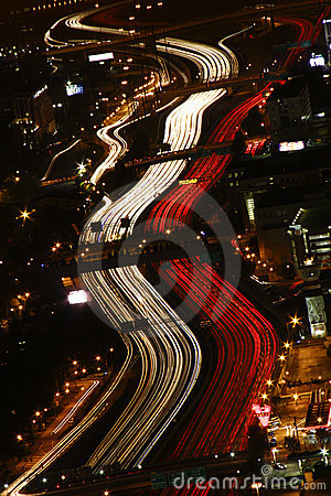 Rush Hour Traffic - Atlanta at Night Editorial Stock Photo