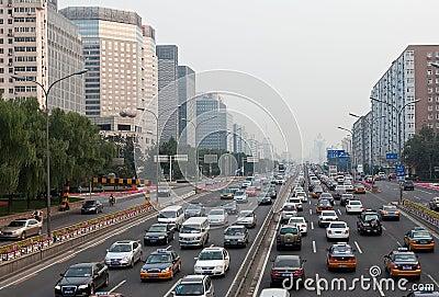 Rush hour traffic jam in Beijing, China Editorial Image