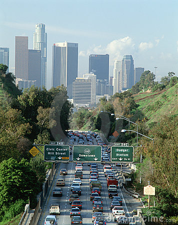 Rush Hour Traffic, Los Angeles, CA w/skyline Editorial Image