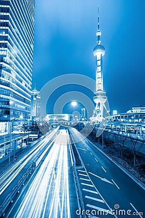 Rush hour traffic at night in shanghai