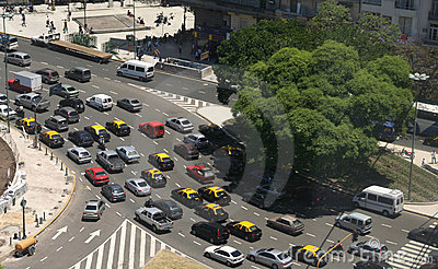 Rush hour traffic, taxis, aerial view