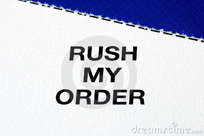"""Rush My Order"" from a business reply postcard"