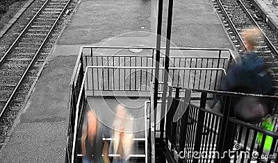 Rushing to catch the train
