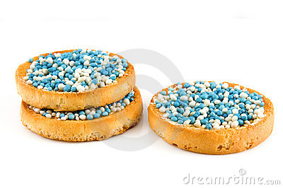 Rusk with blue mice a dutch tradition by a birth