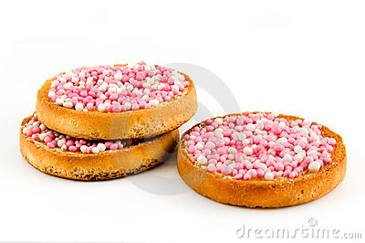 Rusk with pink mice a holland tradition by a birth