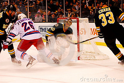 Ruslan Fedotenko sprays Tuukka Rask (NHL) Editorial Stock Image