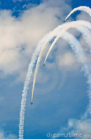 Russ display team demonstrates aerobatics Editorial Stock Photo