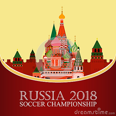 Free Russia 2018 World Cup. Football Banner. Vector Flat Illustration. Sport. Image Of St. Basil`s Cathedral Royalty Free Stock Image - 91001006