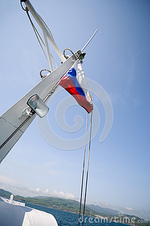 Russia flag on mast