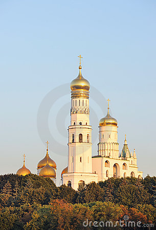 Russia. Gold domes of Moscow Kremlin.