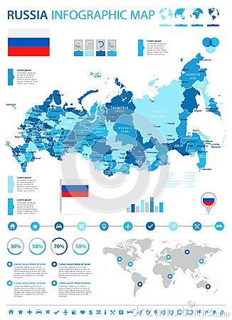 Russia - map and flag - infographic illustration Cartoon Illustration