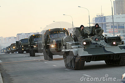 Russia Parade Rehearsal Editorial Photo