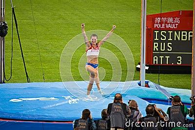 Russia s Yelena Isinbayeva win pole vault Editorial Stock Image