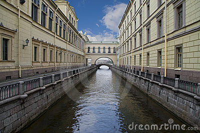 Russia, Saint-Petersburg, Winter Canal near Neva