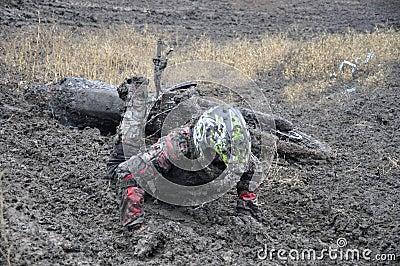 Russia, Samara motocross unidentified rider crash Editorial Stock Photo