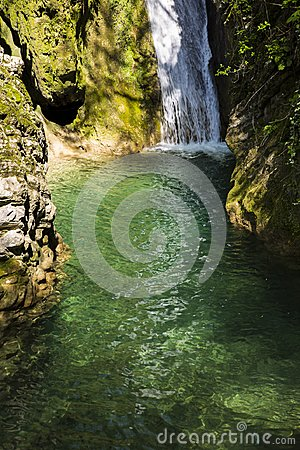 Free Russia. Sochi. Mountain River And Waterfall Royalty Free Stock Photo - 116622635