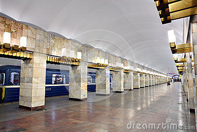 Russia, St. Petersburg, interior subway station Editorial Image