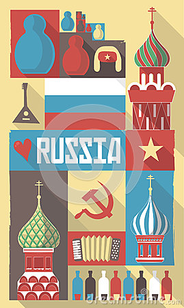 Russia symbols on a poster or postcard