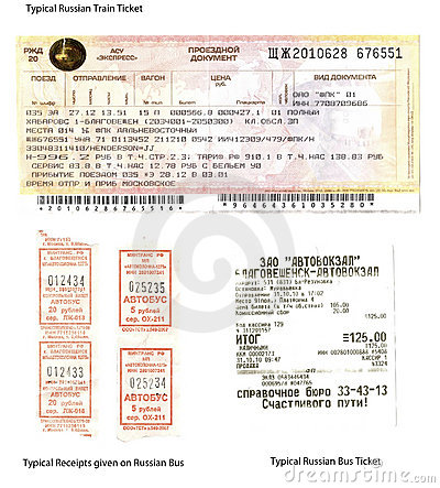 Russia Train and Bus Tickets Editorial Stock Photo