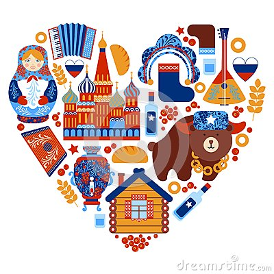 Free Russia Travel Heart Set Royalty Free Stock Photography - 43690837