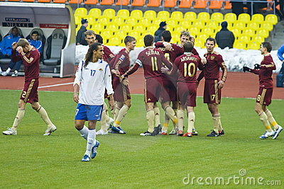 Russia vs Azerbaijan, russians scored 1-0 Editorial Stock Image