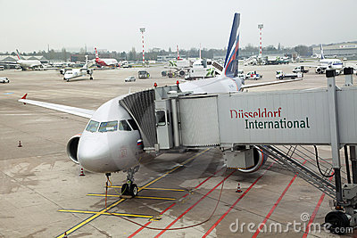 Russian airplanе in Dusseldorf airport Editorial Photo